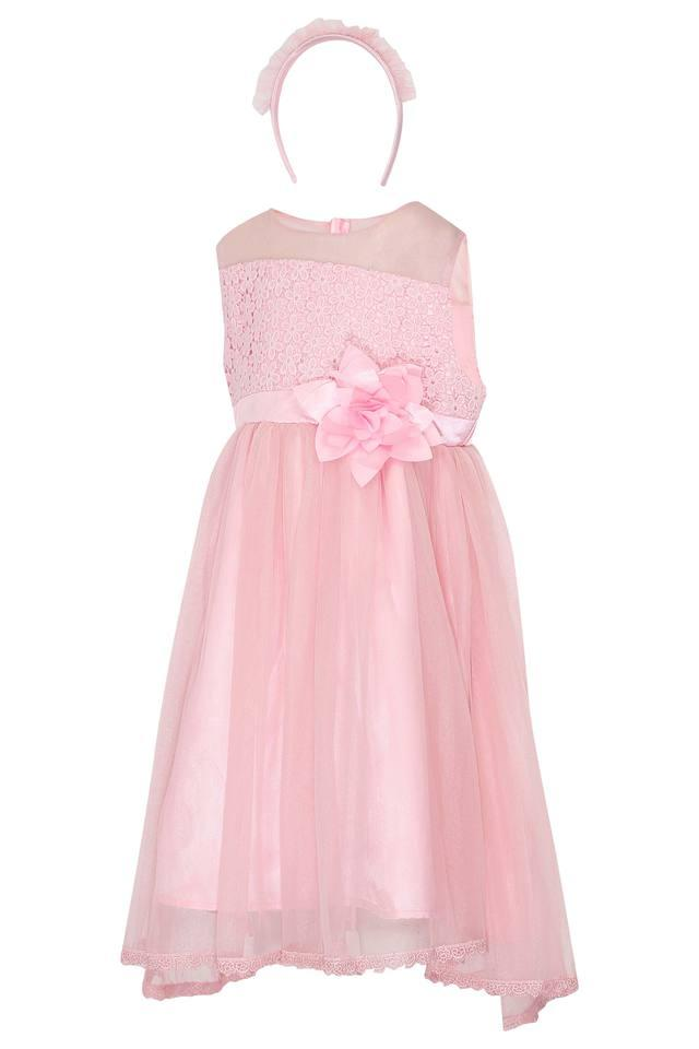Girls Round Neck Lace Flared Dress With Hairband