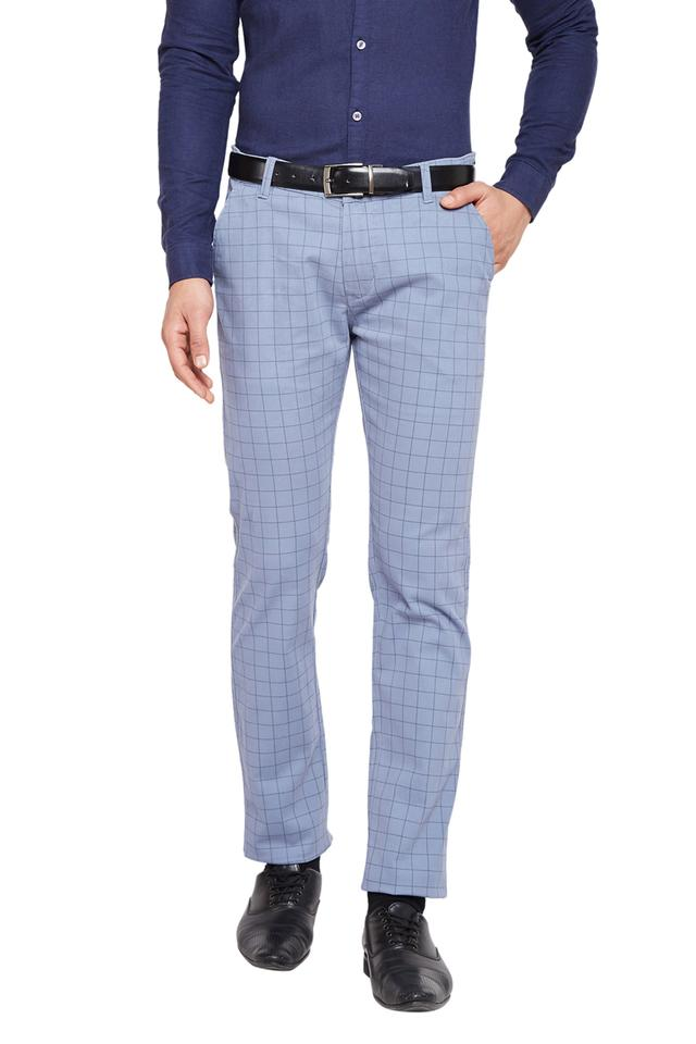 Mens 5 Pocket Checked Chinos