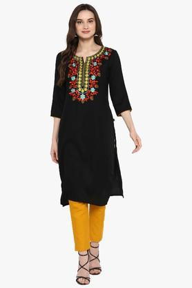 JUNIPER Womens Blend Long Kurta With Pintucks & Cuff Sleeves