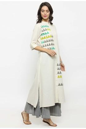 Women Cotton Geometric print A-line Kurta