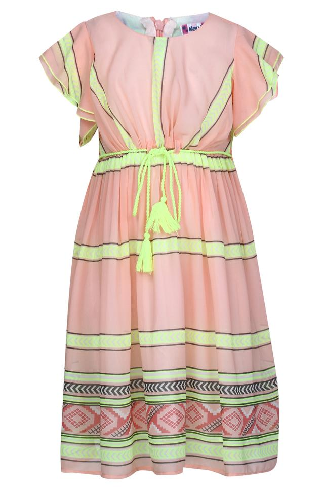Girls Round Neck Striped A-Line Dress