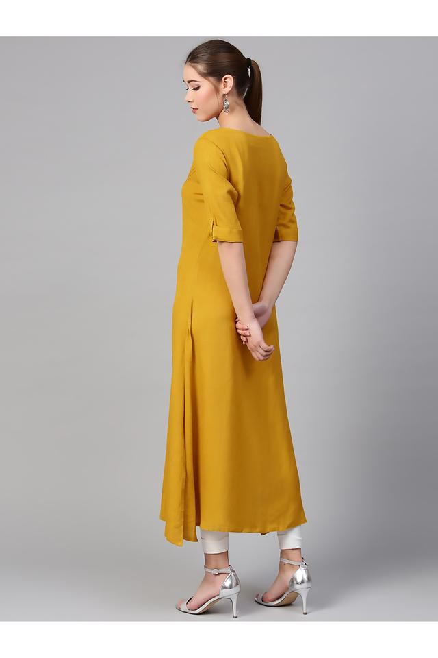 Womens Notched Collar Solid Kurta