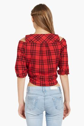 Womens V Neck Checked Crop Shirt