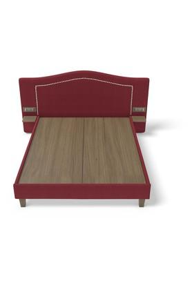 Self Pattern Upholster Headboard Double Bed with 6 Amp Modular Switch
