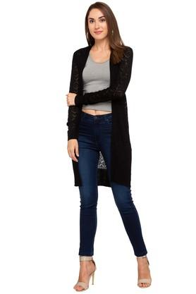 ELLE Womens Open Front Solid Long Jacket