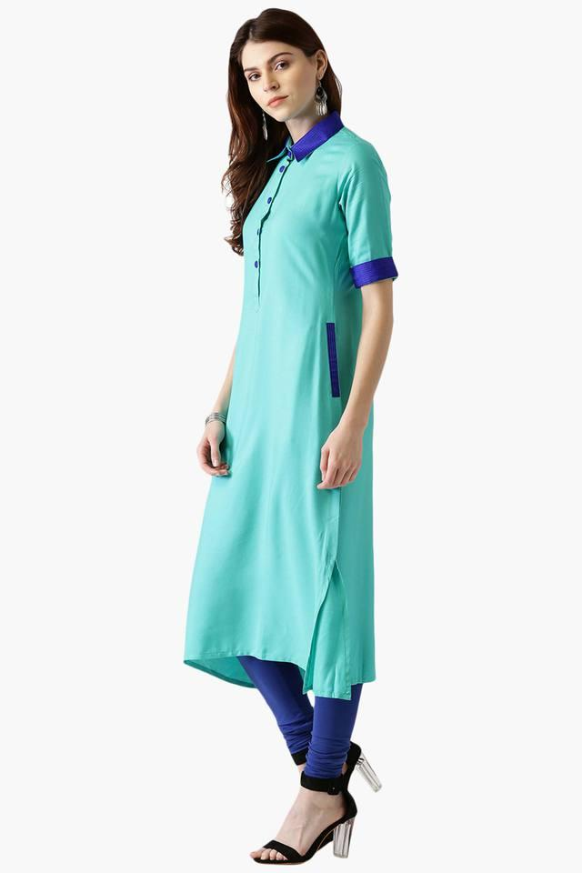 Womens Rayon Solid A-Line Kurta With Pockets