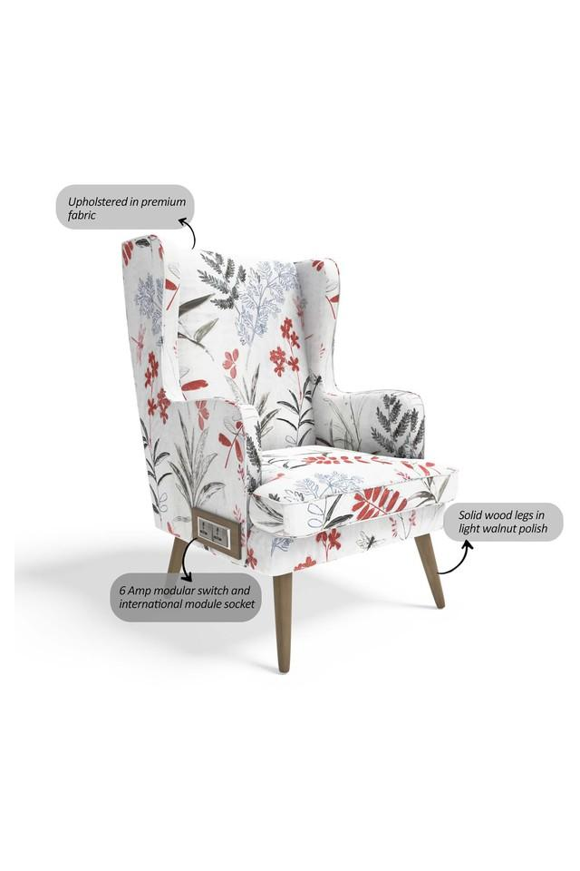 Floral Upholster Wing Chair with 6 Amp Modular Switch