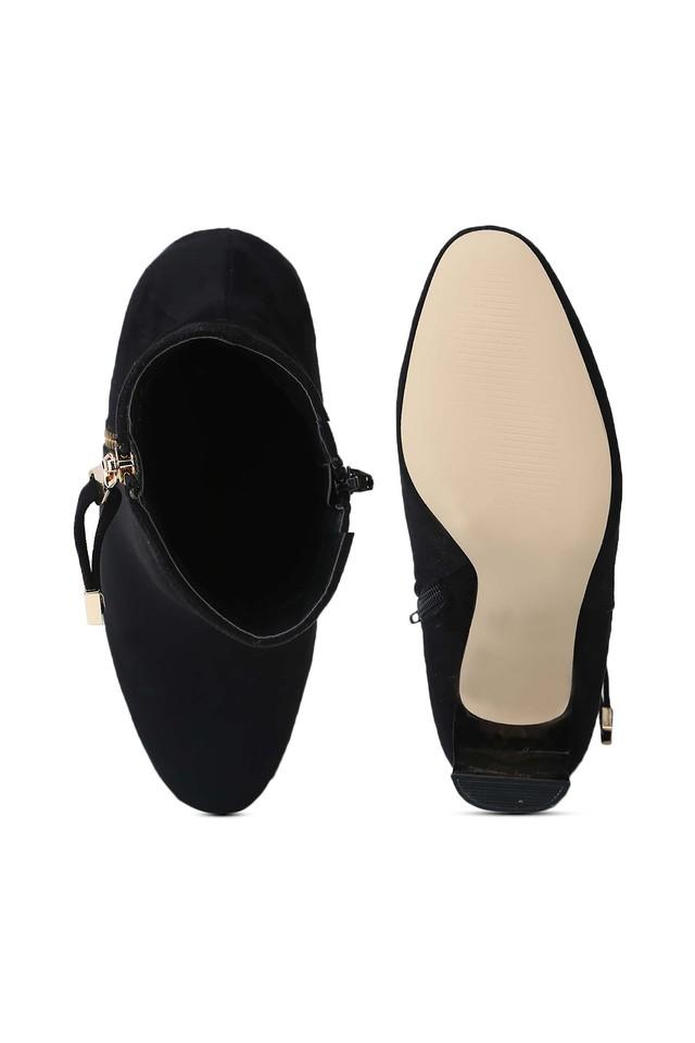 Womens Zip Closure Slim Block Heeled Ankle Boots