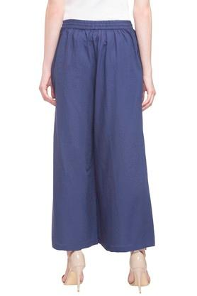 Womens 2 Pocket Solid Flared Palazzo Pants