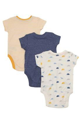 Kids Round Neck Striped Printed and Slub Babysuit - Pack of 3
