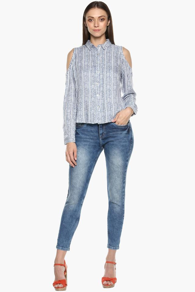 Womens Cold Shoulder Sleeves Striped Top