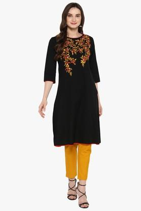 JUNIPER Womens Printed Long Kurta With Piping Detailing