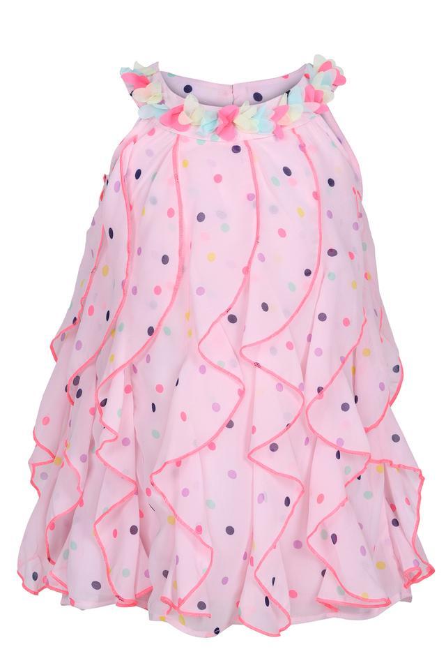 Girls Round Neck Dot Pattern Flared Dress