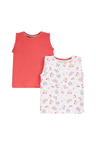 Girls Floral Print and Solid Vests - Pack Of 2