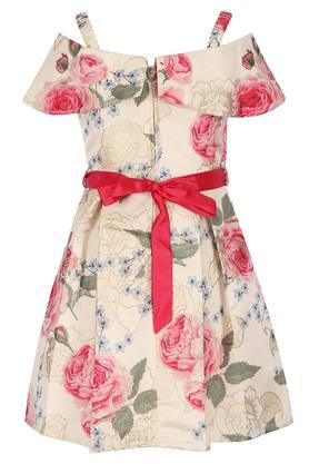 Girls Strappy Neck Floral Printed Pleated Dress with Belt