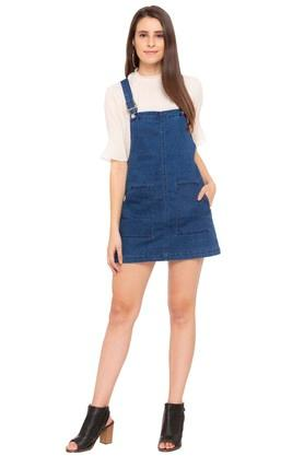 Womens 2 Pocket Washed Dungaree