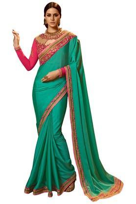 VRITIKAWomens Firozi Silk Designer Saree With Blouse