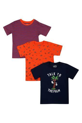 Boys Round Neck Printed and Striped Tee - Pack of 3