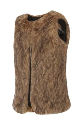 Girls Front Open Fur Jacket