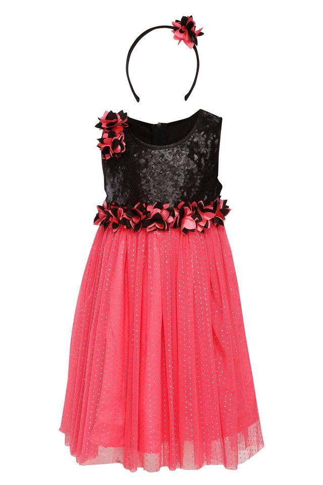 Girls Round Neck Assorted Layered Dress with Hairband