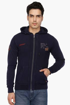 LEE COOPER Mens Hooded Solid Sweatshirt