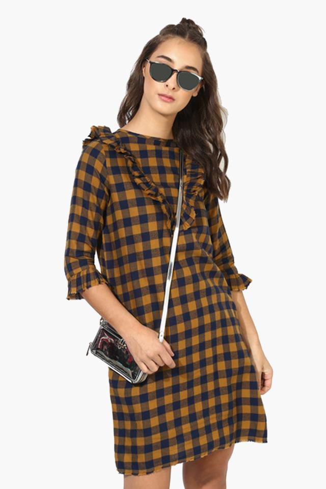 Womens Checks Mini Dress