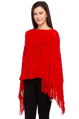 Womens Round Neck Knitted Pattern Poncho