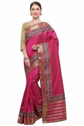 RACHNAWomens Chanderi Silk Digital Printed Saree With Blouse