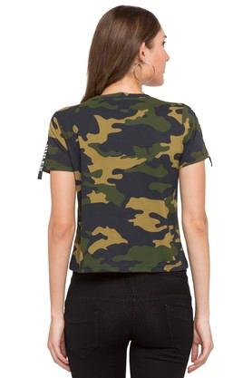 Womens Round Neck Camouflage T-Shirt