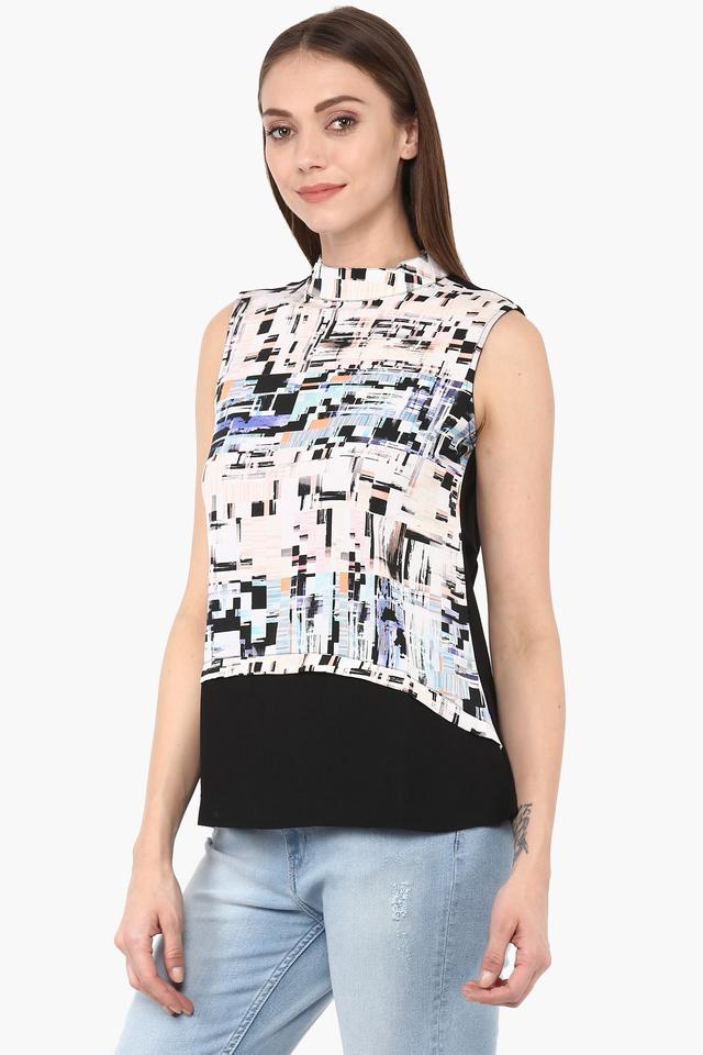 Womens Band Neck Printed Top