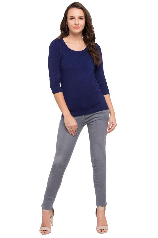 Womens Round Neck Knitted Solid Top