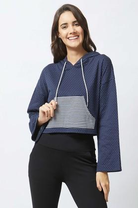 MYSTERE PARISWomens Hooded Neck Dot Pattern Sweatshirt