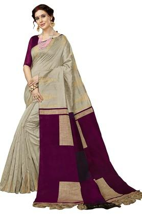 DEMARCAWomens Colour Block Woven Saree With Blouse Piece - 204771951_9111
