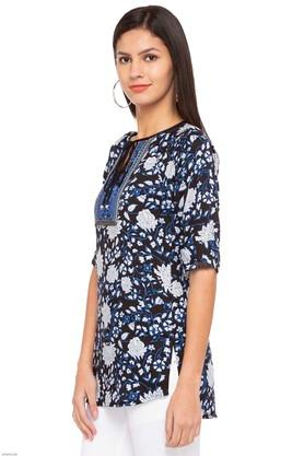 Womens Tie Up Neck Embroidered Kurti