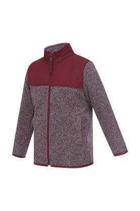 Boys Zip Through Neck Slub Jacket