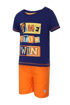 Boys Round Neck Printed Shorts and Tee