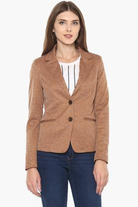 IRIS Womens Notched Lapel Slub Blazer