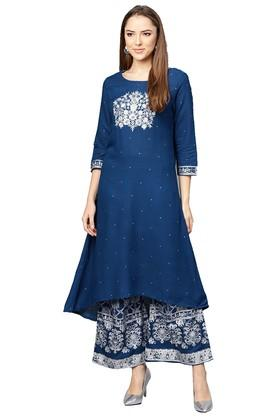 084e1b854 X ISHIN Womens Round Neck Embroidered Kurta and Palazzo Set