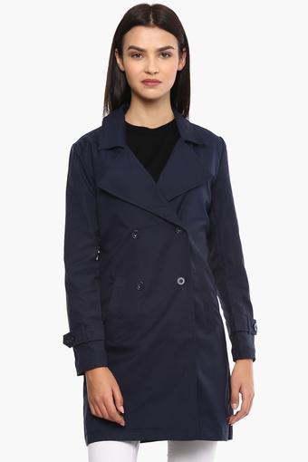 Womens Notched Lapel Solid Trenchcoat