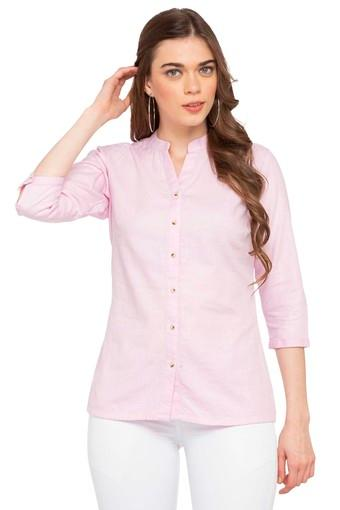 Womens Mandarin Collar Solid Formal Shirt