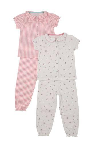 Girls Peter Pan Collar Checked Pants and Shirt - Pack Of 2