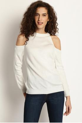 MARIE CLAIRE Womens Round Neck Solid Pullover