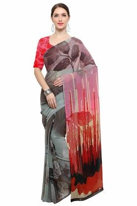 RACHNA Womens Color Georgette Printed Saree With Blouse