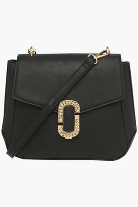 Womens Casual Wear Metallic Lock Closure Sling Clutch