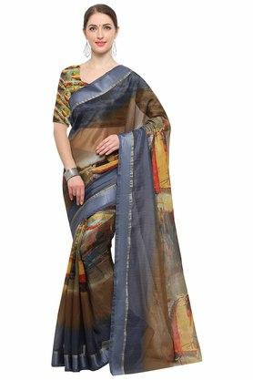 RACHNA Womens Art Silk Digital Printed Saree With Blouse - 204088369_7086