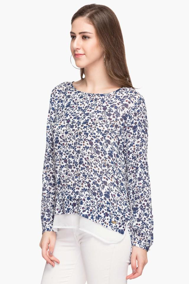 Womens Round Neck Printed Blouse