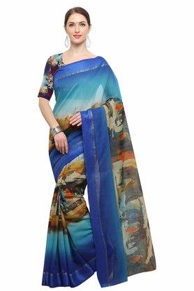 RACHNA Womens Art Silk Digital Printed Saree With Blouse - 204088358_7086