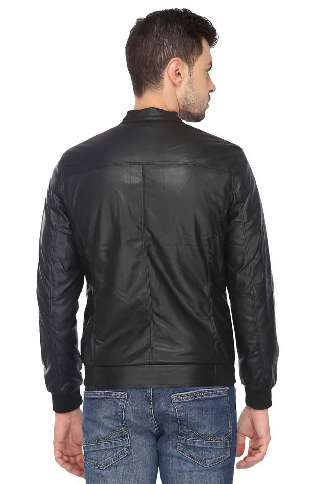 Mens Band Neck Solid Leather Jacket