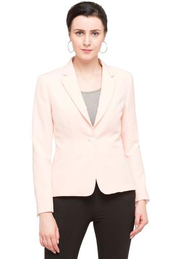 Womens Notched Lapel Solid Blazer