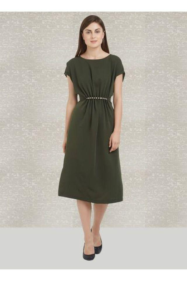 Womens Round Neck Solid Calf Length Dress